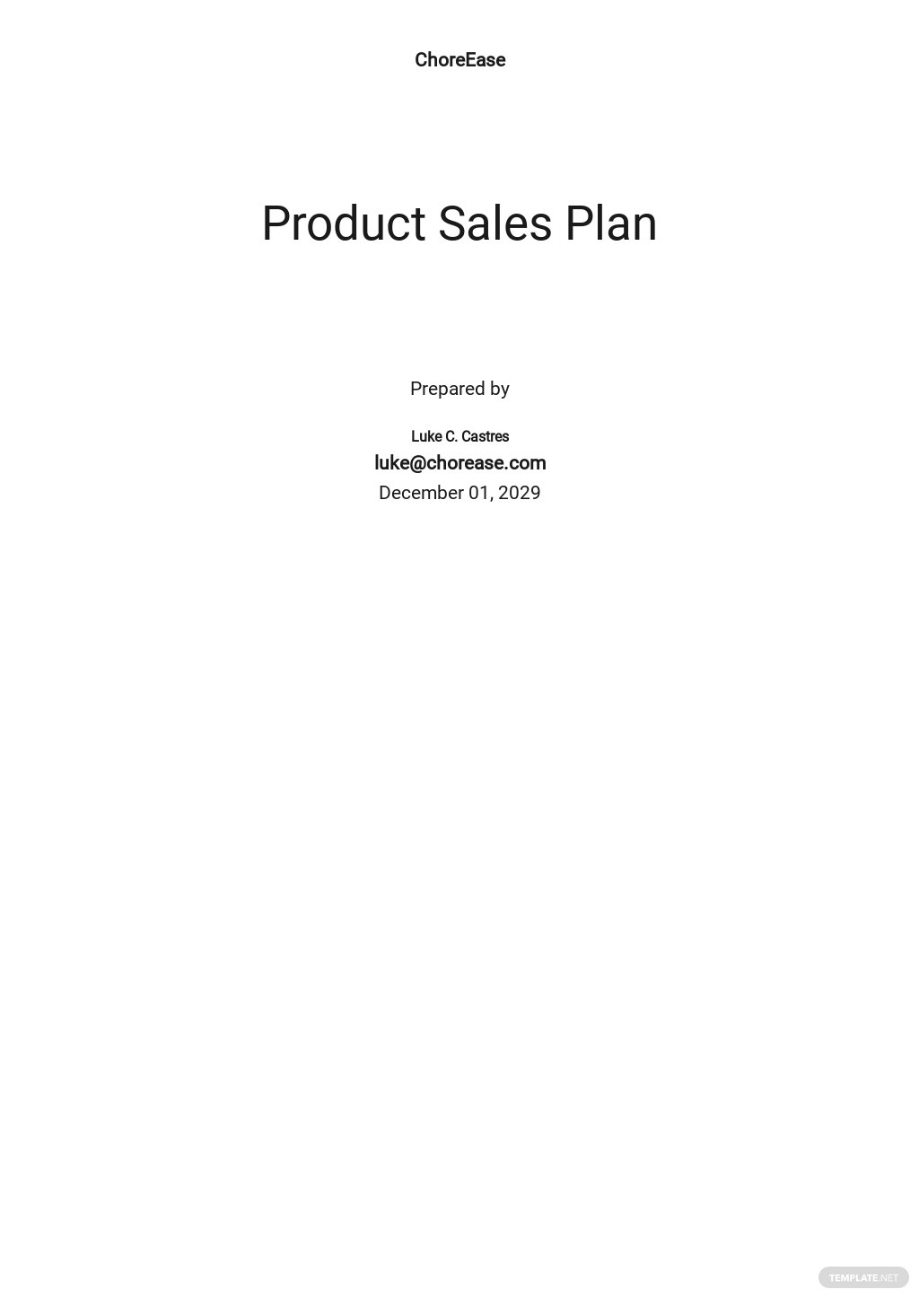 Product Sales Plan Template