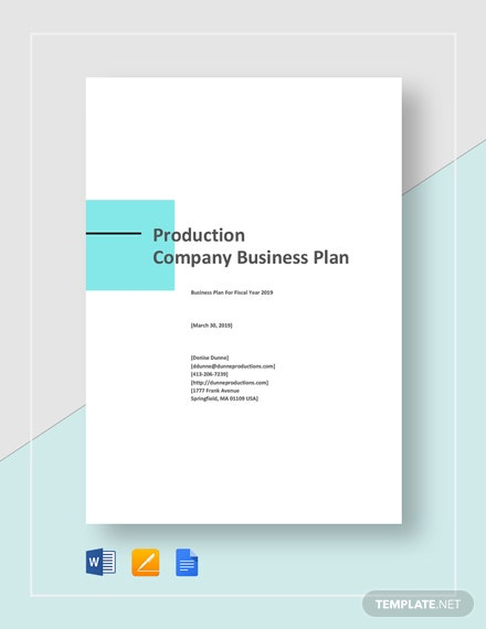 Production Company Business Plan Template