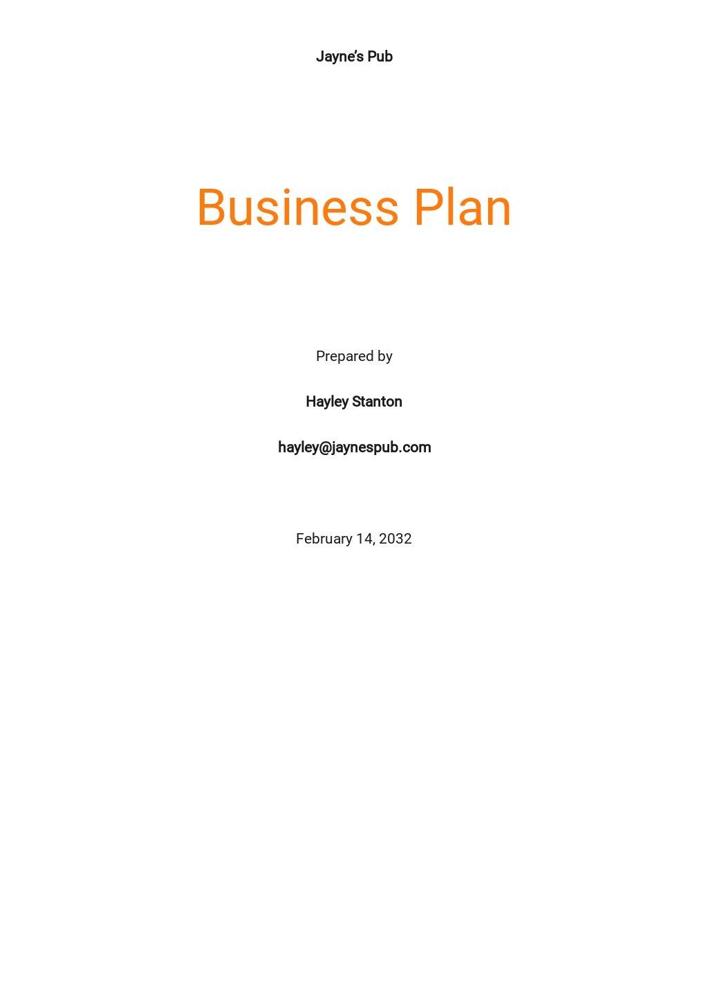 Pub Business Plan Template.jpe