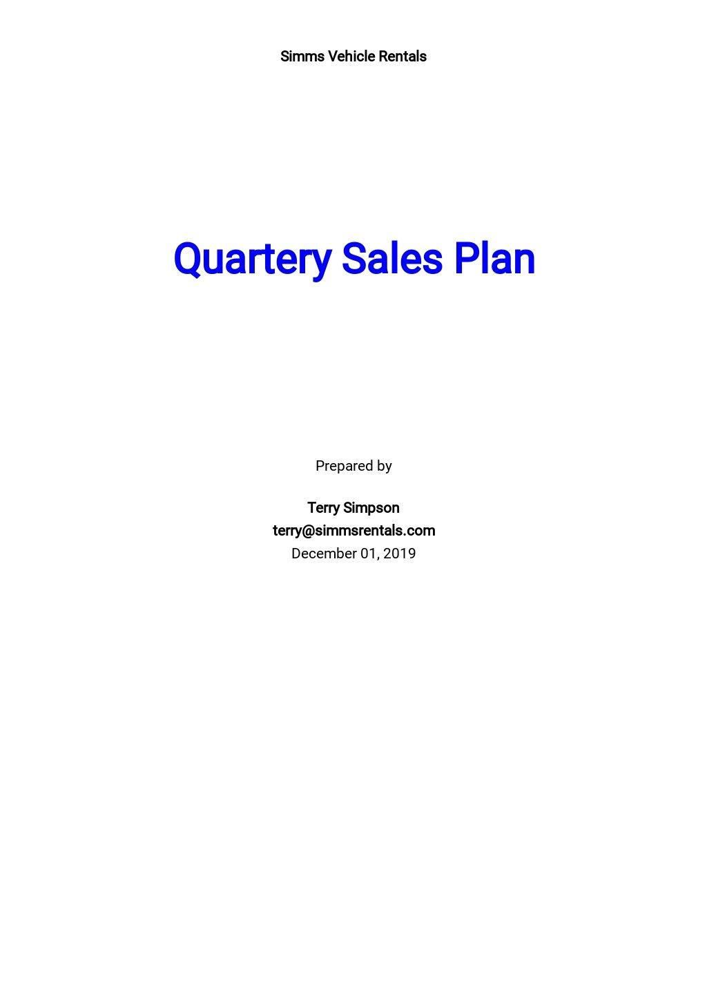 Quarterly Sales Plan Template