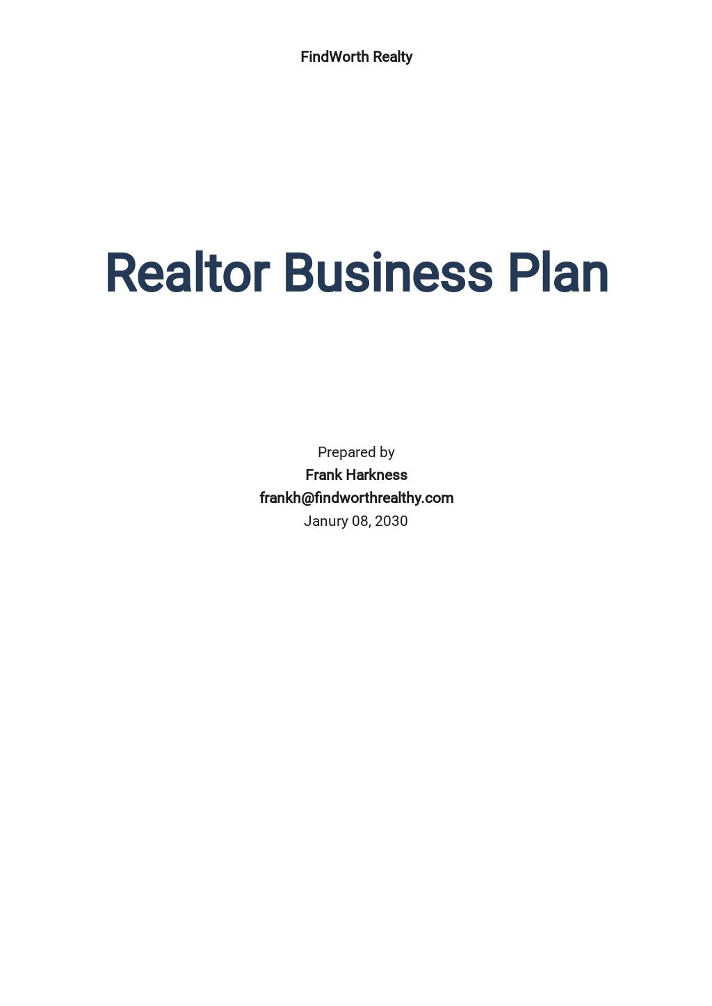 Realtor Business Plan Template