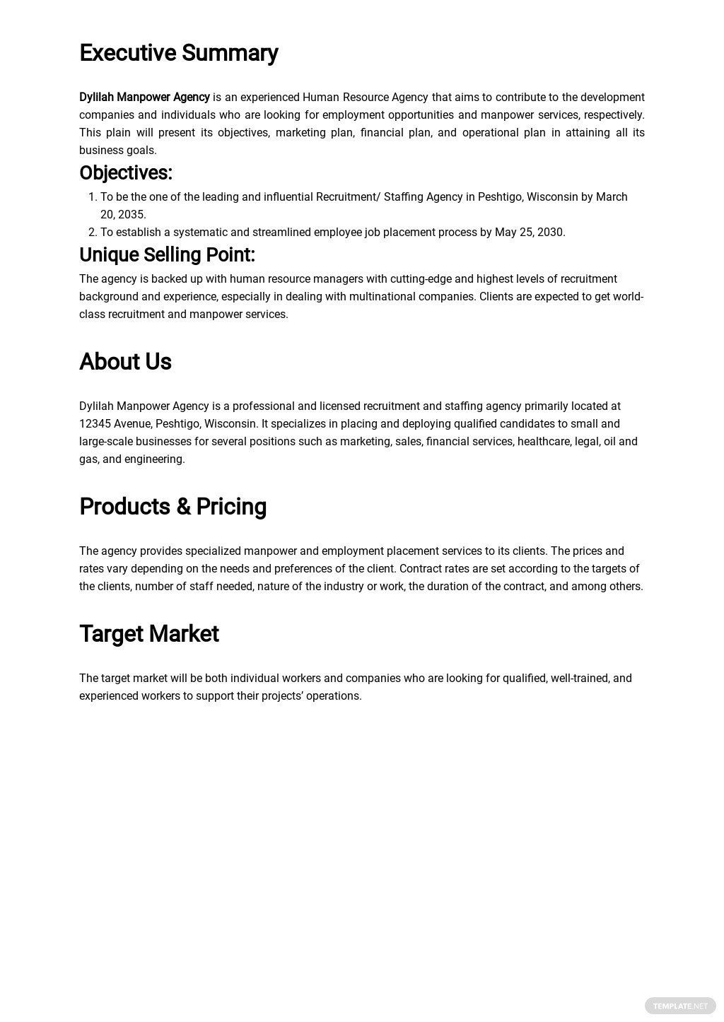 Recruitment/Staffing Agency Business Plan Template 1.jpe