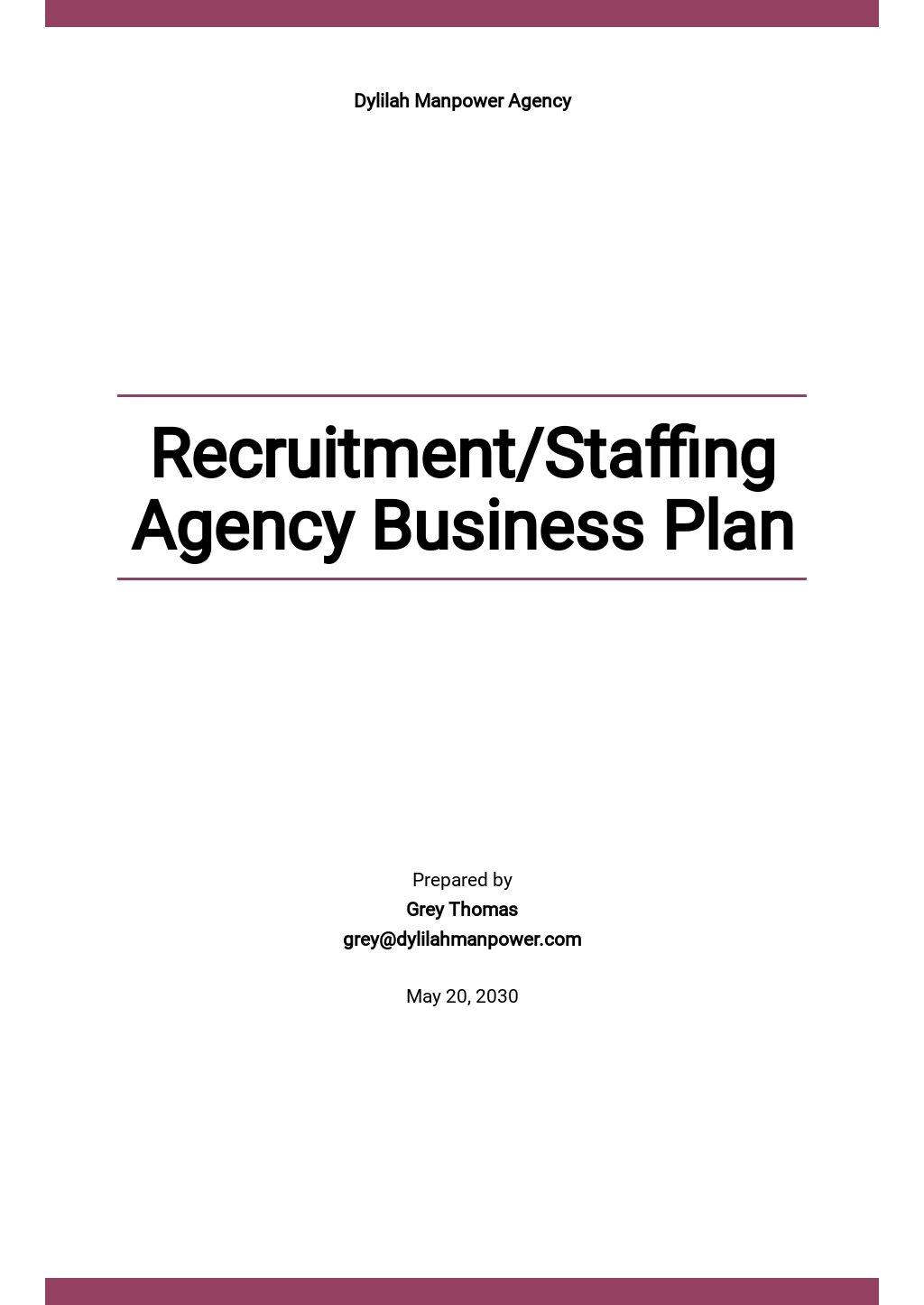 Recruitment/Staffing Agency Business Plan Template.jpe