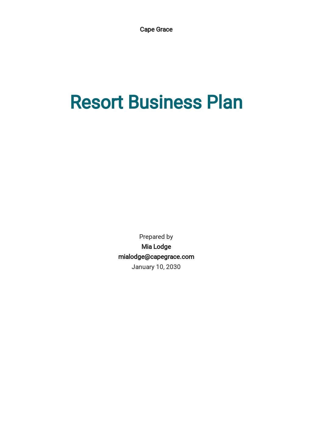 Resort Business Plan Template