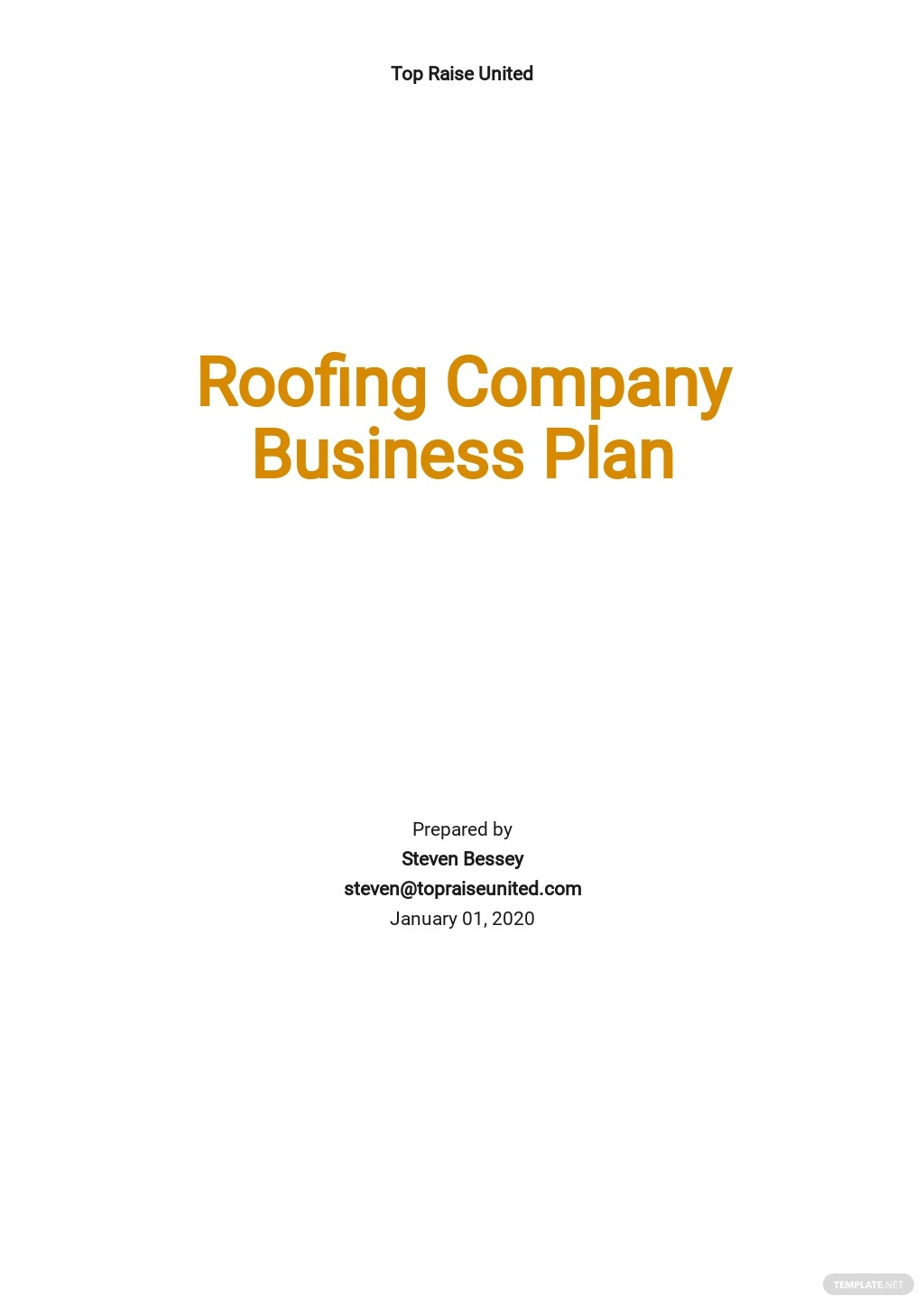 Roofing Company Business Plan Template