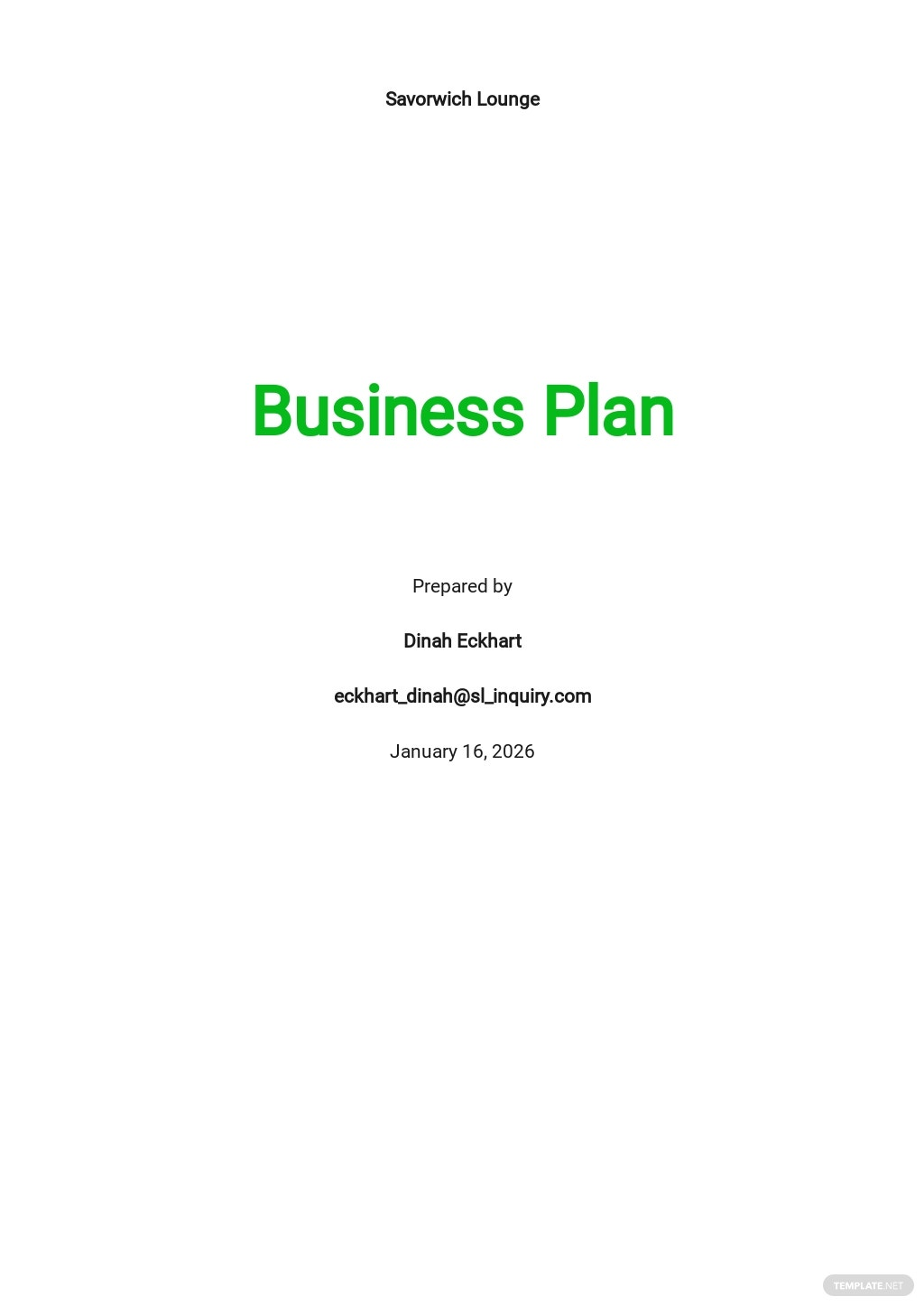 Sandwich Restaurant Business Plan Template.jpe