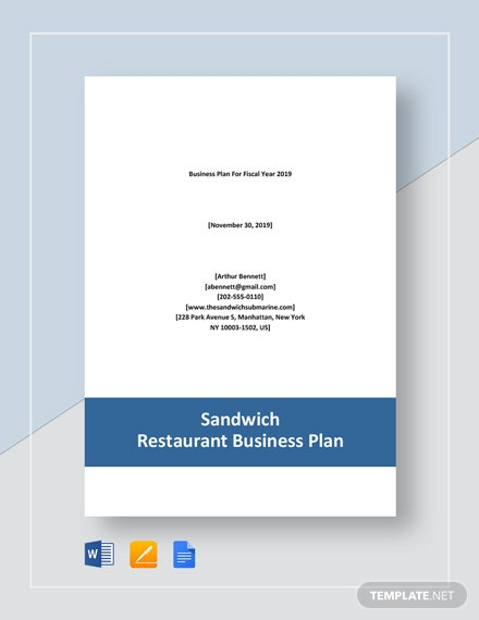Sandwich Restaurant Business Plan Template