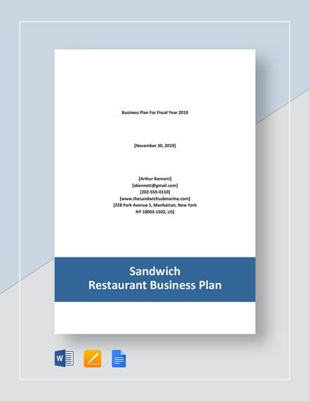 Sandwich Restaurant Business Plan
