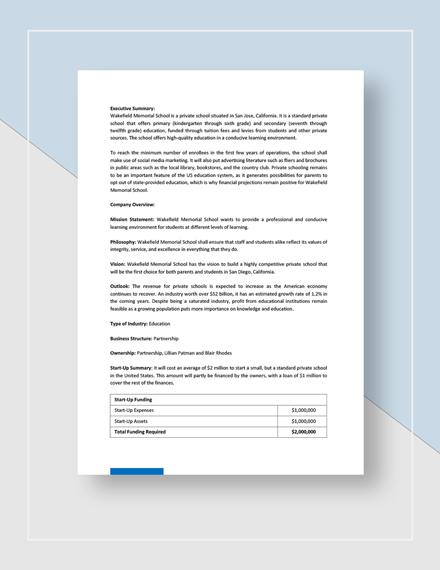 School Business Plan Download