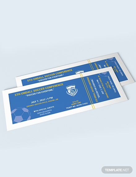 Sample Soccer Field Reserved Event Ticket