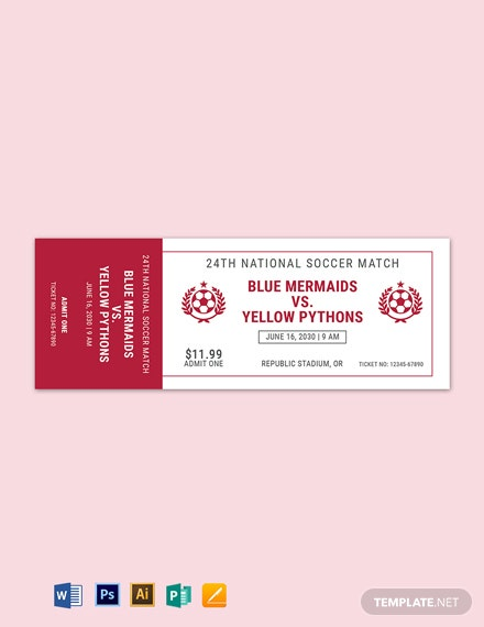 Soccer Game Ticket Template