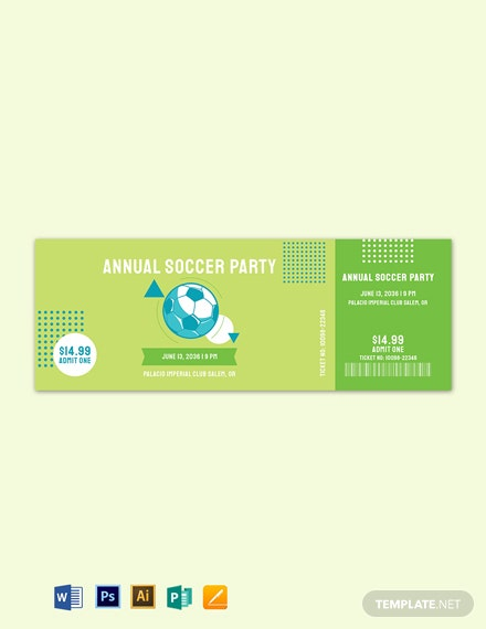 Soccer Party Ticket Template