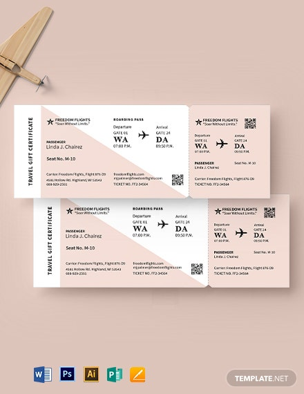 Airline Ticket Gift Invitation Template