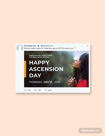 Free Ascension Day Twitter Post Template