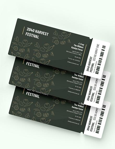 Sample Harvest Festival Ticket