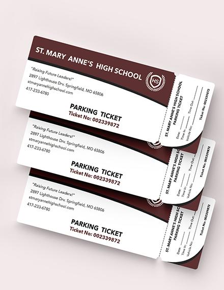Sample High School Parking Ticket