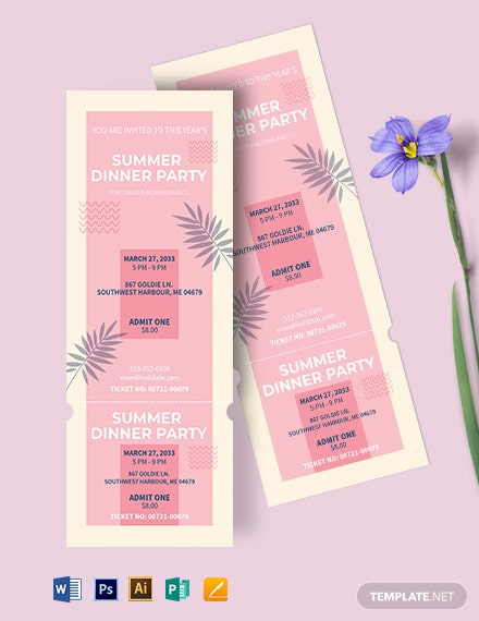 Holiday Dinner Ticket Template