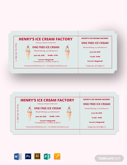 Ice Cream Food Ticket Template