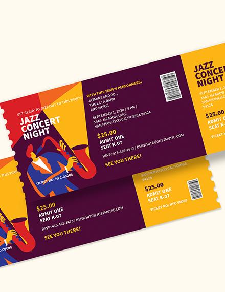 Sample Jazz Concert Ticket