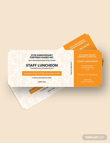 Luncheon Food Ticket Download