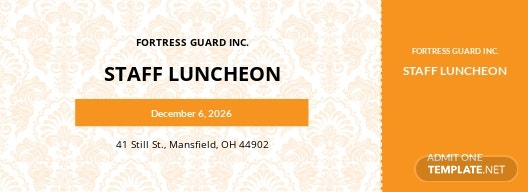 Luncheon Food Ticket Template