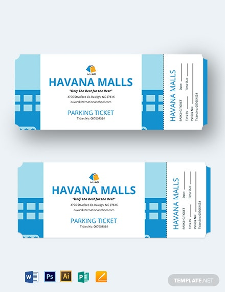 Mall Parking Ticket Template