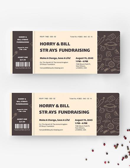 Sample Meal Fundraiser Ticket