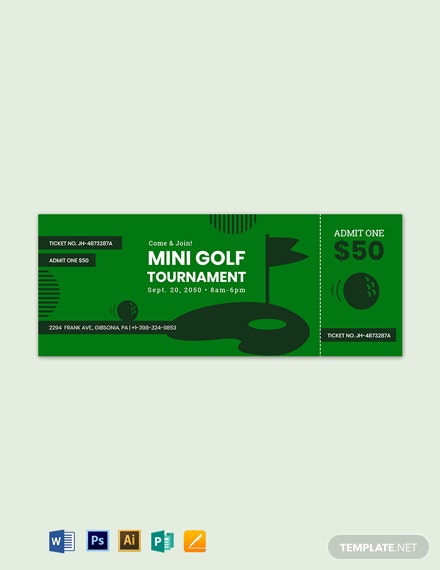 mini golf ticket
