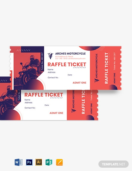 Motor Cycle Raffle Ticket Template