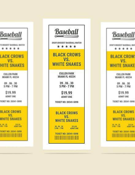 Sample Printable Baseball Ticket
