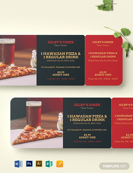 Printable Food Ticket Template