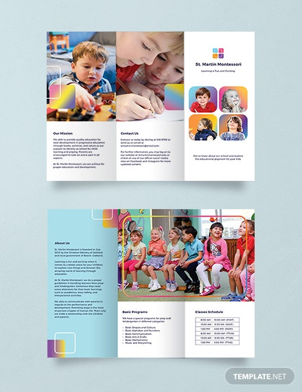 Free Kindergarten Brochure Template