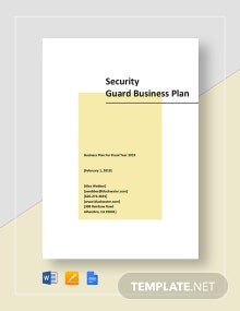 Security Guard Business Plan Template