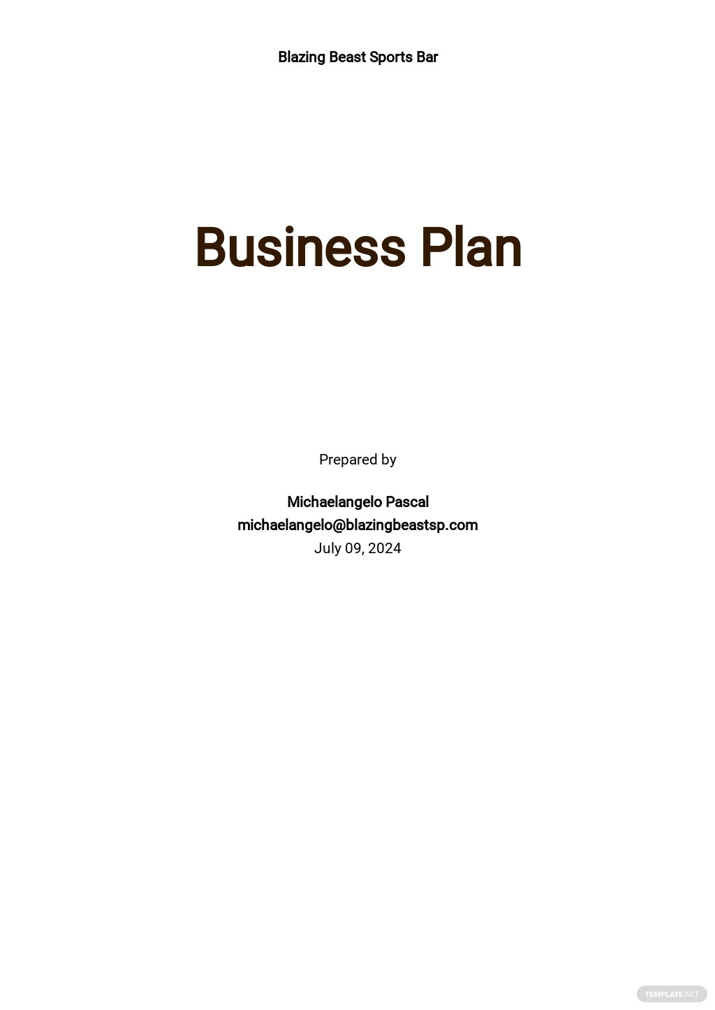 FREE Sample Sports Bar Business Plan Template - Google Docs, Word