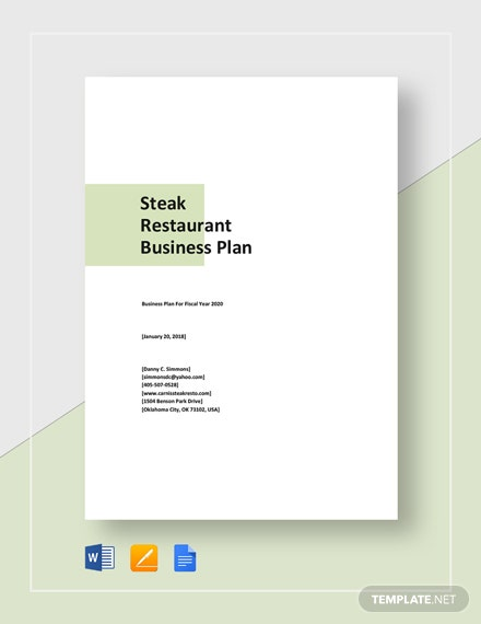 Steak Restaurant Business Plan Template
