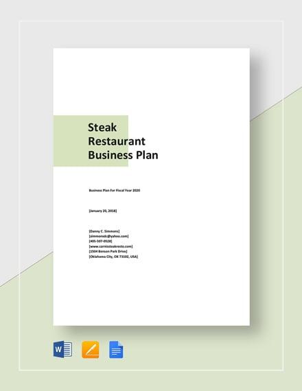 Steak Restaurant Business Plan Template