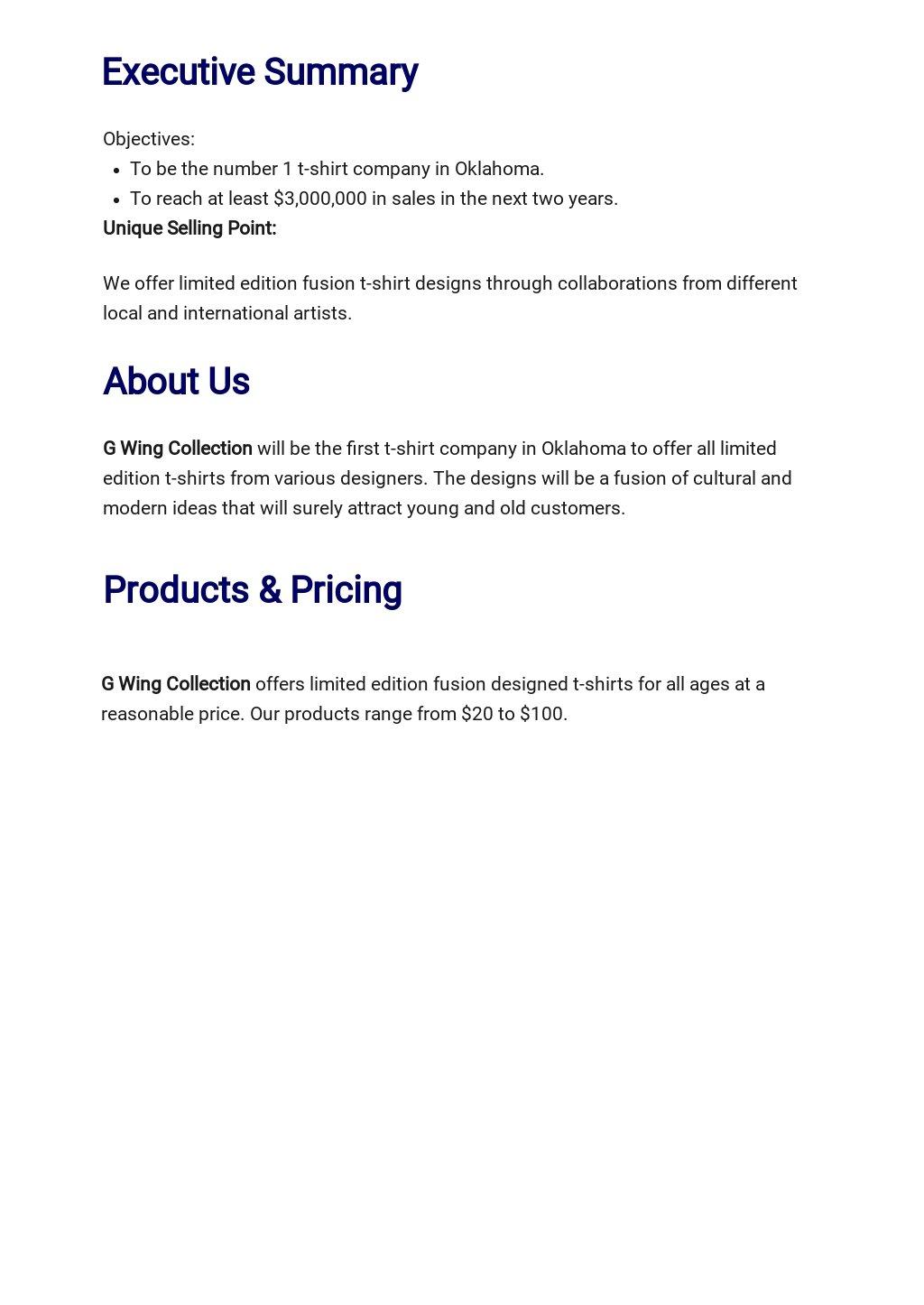 T Shirt Company Business Plan Template 1.jpe