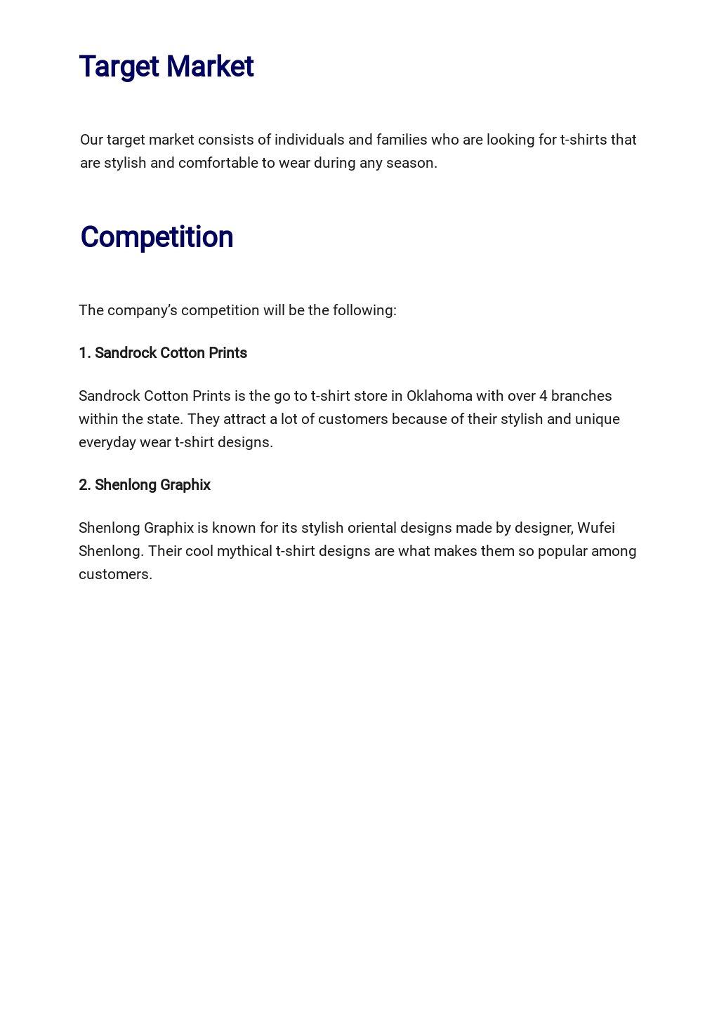 T Shirt Company Business Plan Template 2.jpe