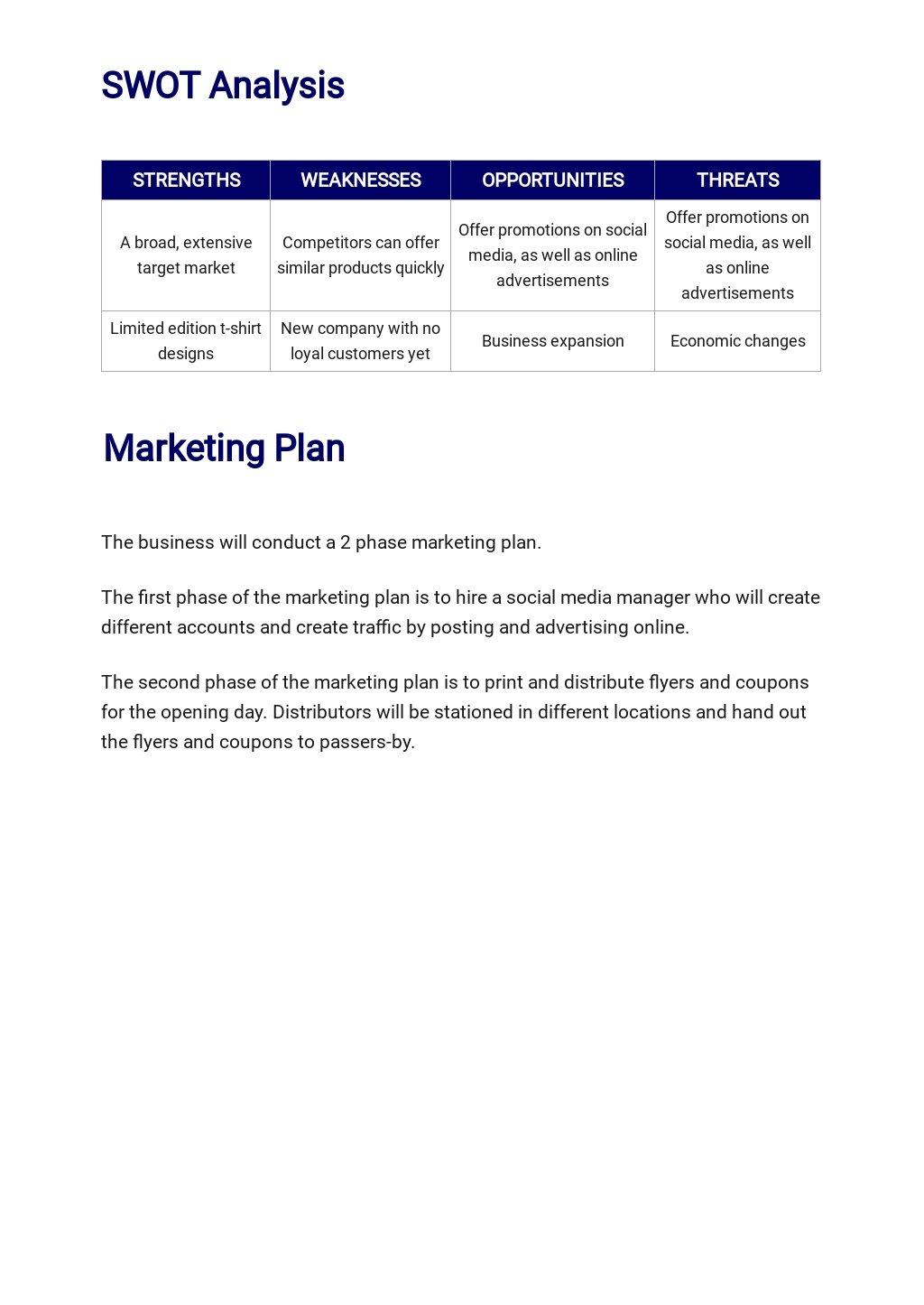 T Shirt Company Business Plan Template 3.jpe