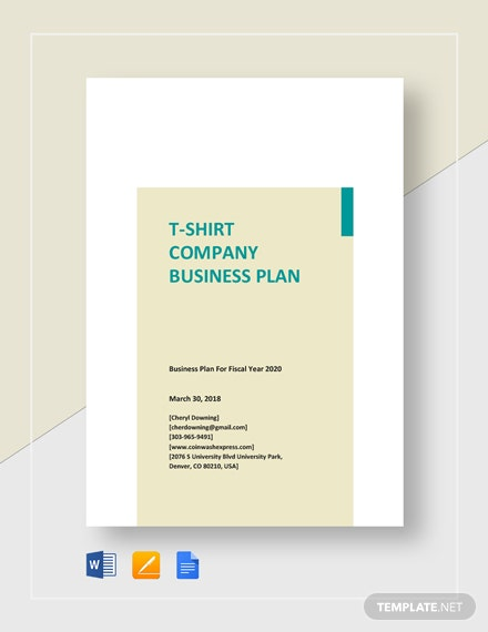 T-Shirt Company Business Plan Template
