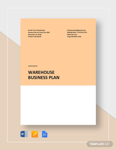 Warehouse Business Plan Template
