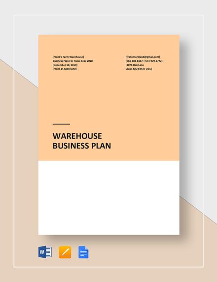 Warehouse Business Plan Template
