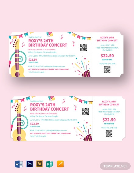 Birthday Concert Ticket Template