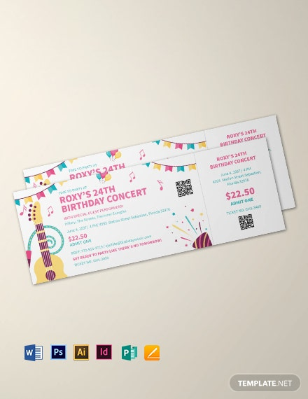 Birthday Concert Ticket Template