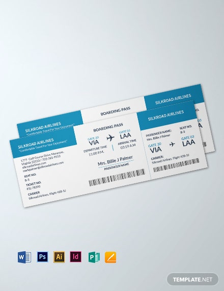 Blank Airline Ticket Template
