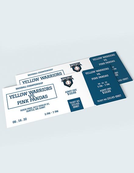 Sample Blank Baseball Ticket