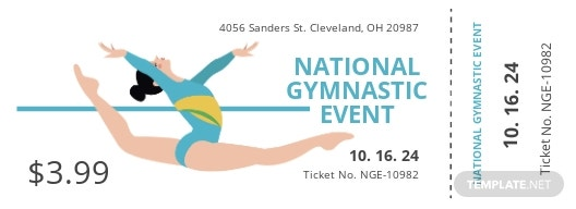 Gymnastic Event ticket template