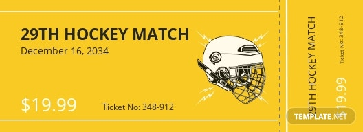 Hockey Ticket Template