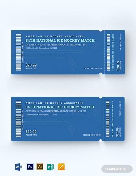 Ice Hockey Ticket Template