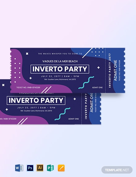Inverto Party Event Ticket Template